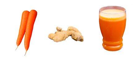 Jugo de zanahoria para adelgazar con jengibre