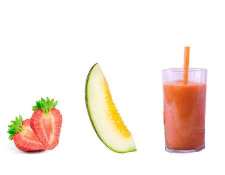Jugo para bajar de peso de melón y fresa