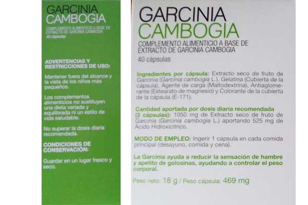 Prospecto de la Garcinia Cambogia Mercadona