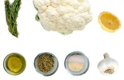 Coliflor e ingredientes para receta naturista de filete