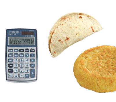 Calculadora para calcular cuántas calorías tiene una tortilla de maiz y de patatas