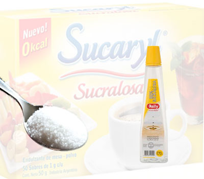 Edulcorante sucralosa líquida y granulada