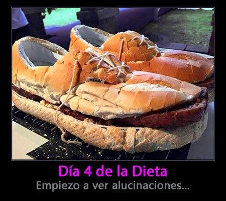 Imagen con frase chistosa: Día 4 de la dieta, empiezo a ver alucinaciones (zapatos hechos con comida)