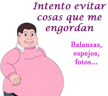 Imagen con frase chistosa: Intento evitar cosas que engordan, básculas, espejos, fotos...