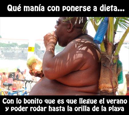Imagen con frase chistosa: Qué manía con ponerse a dieta, con lo bonito que es rodar hasta la orilla de la playa
